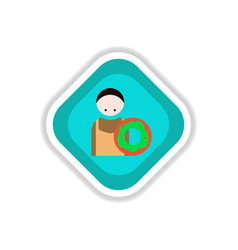 Paper sticker on white background cook donut vector