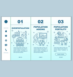Population onboarding mobile web pages template vector