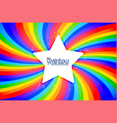 radial rainbow swirl background with star vector image