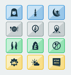 Ramadan icons set with tower dua namaz room vector