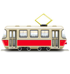 Red small tram vector