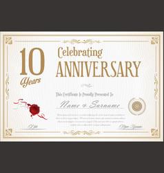 Retro vintage anniversary 10 years background 01 vector
