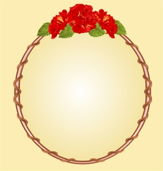 Round frame with red hibiscus greeting card vector image