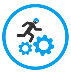 Running Developer Over Gears Icon vector image