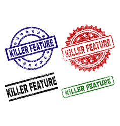 Scratched textured killer feature seal stamps vector