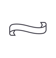 scrull ribbon line icon sign vector image