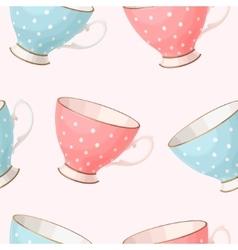 Seamless vintage teacups vector image