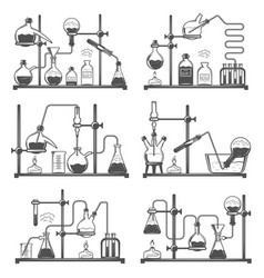 set of monochrome laboratory research elements vector image