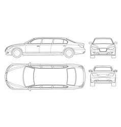 Set of outline white limousines isolated on white vector