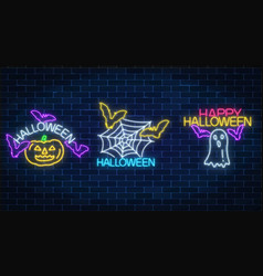 set of three halloween in neon style glowing neon vector image