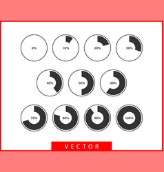 set pie chart icons circle diagram collection vector image