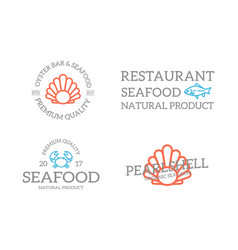 set retro vintage fish and shell crab logo or vector image