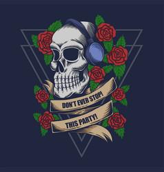 skull headphone rose vector image