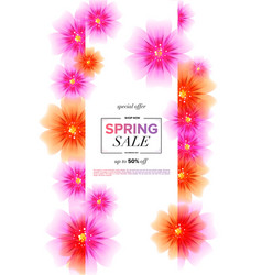 spring sale background with beautiful flowers vector image