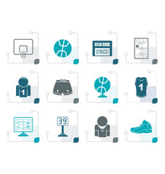stylized basketball and sport icons vector image