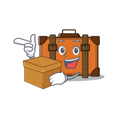 Suitcase with bring box in cartoon with mascot vector