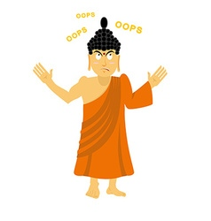 Surprised Buddha says oops Perplexed Indian god vector