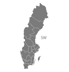 Sweden counties map grey vector