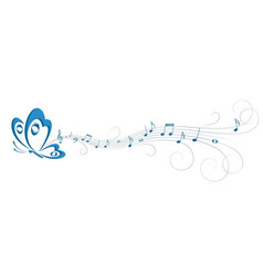 Symbol of butterfly with music notes vector
