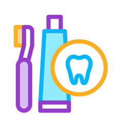 toothbrush and paste icon outline vector image