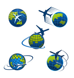 Travel agency icons plane and world globe vector