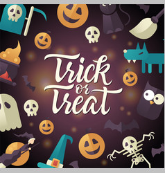 Trick or treat - halloween celebration poster with vector