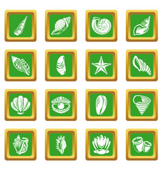 tropical sea shell icons set green square vector image
