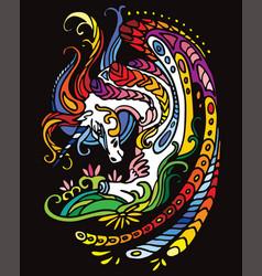 Unicorn black color vector