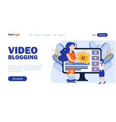 Video blogging landing page template vector