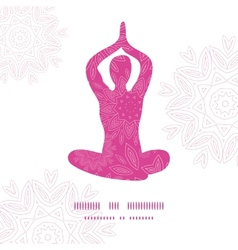 Woman in lotus yoga pose silhouette pink flowers vector image