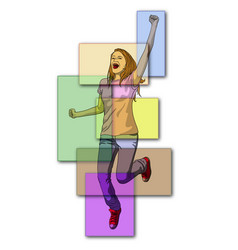 Woman jumping with excitement vector