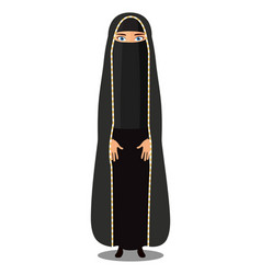 Young arabic muslim woman in traditional clothing vector