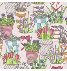 Cute seamless floral pattern vector image vector image