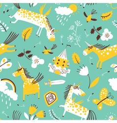 doodle unicorns seamless pattern vector image