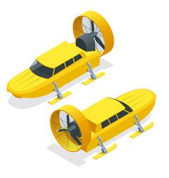 isometric aerosani propeller-driven snowmobile vector image
