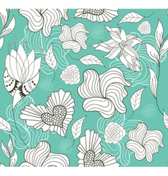seamless doodle flowers and hearts pattern vector image