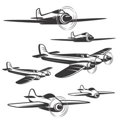 set of airplane icons isolated on white vector image