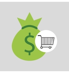 buying cart bag money dollar design vector image vector image
