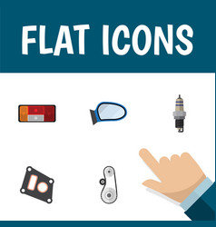 flat icon auto set of spare parts auto component vector image