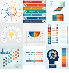 Set 9 templates Infographic 7 positions vector image vector image