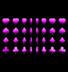 violet 3d symbols poker cards animation vector image vector image