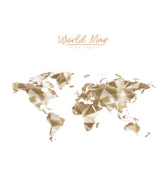 world map city lights in light brown polygon vector image