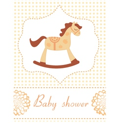 Baby shower rocking horse vector image vector image