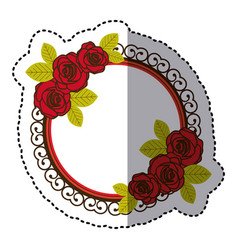 color round emblem with oval roses icon vector image vector image