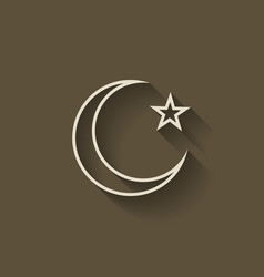 crescent moon and star vector image vector image