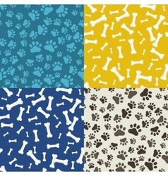 Dog Paw and bone anilams pattern vector image