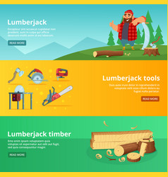 Horisontal banners of sawmill theme vector
