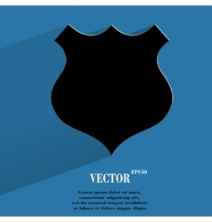 shield Flat modern web button with long shadow and vector image