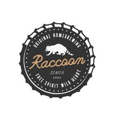wild animal badge with raccoon and typography vector image