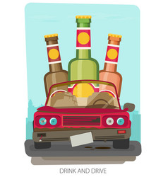 alcohol influenced driving causes car crash vector image vector image